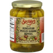 Sechlers Hot Hungarian Pickled Banana Peppers, 24 Ounce -- 6 per case