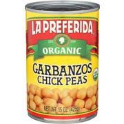 La Preferida Organic Chick Peas Beans, 15 Ounce -- 12 per case