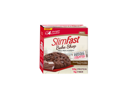 SlimFast Bake Shop Meal Replacement Double Chocolate Chip Cookie, 4 count per pack -- 4 per case.