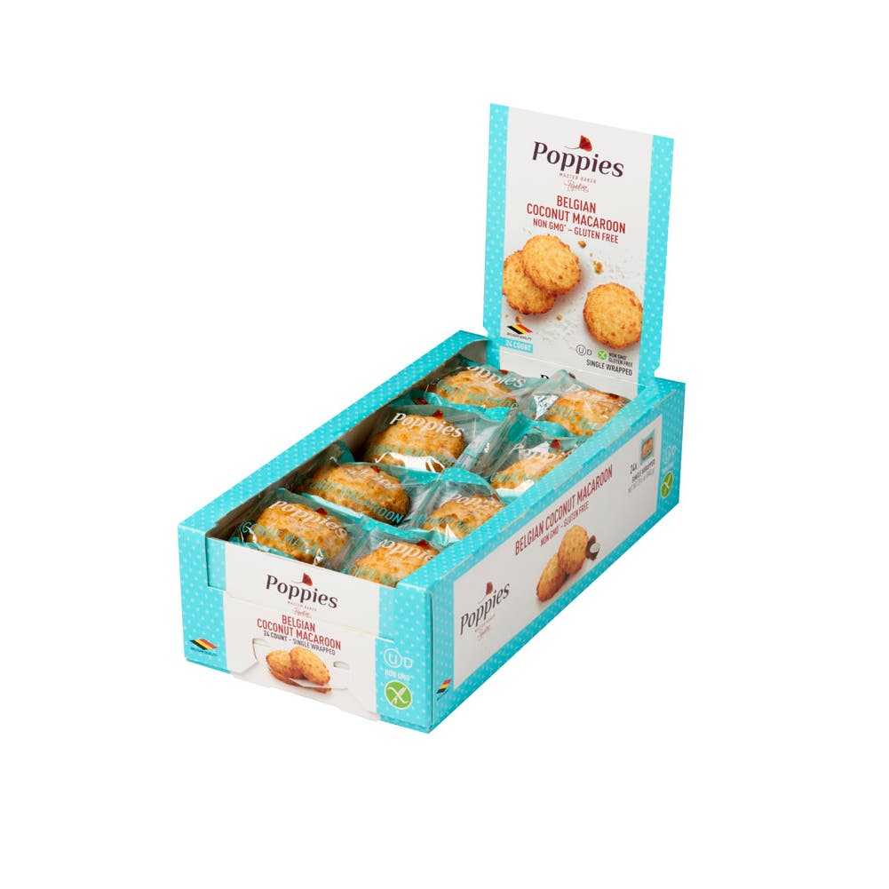 Poppies Plain Belgian Coconut Macaroons Case Foodservicedirect