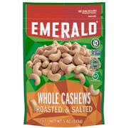 Emerald Roasted and Salted Whole Cashews Nut, 5 Ounce -- 6 per case.