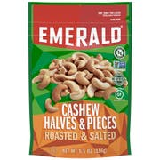 Emerald Roasted and Salted Halves and Pieces Cashews Nut, 5.5 Ounce -- 6 per case.