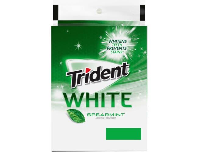 Trident White Gum Spearmint Sugar Free Gum, 110 count per pack -- 16 per case.