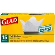 Glad Quick Tie Tall Kitchen Trash Bag, 13 Gallon - 15 per pack -- 12 packs per case.