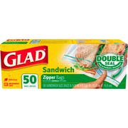 Clorox Glad Zipper Food Storage Sandwich Bag - 50 per pack -- 12 packs per case.