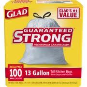 Glad Kitchen Tall Drawstring White Garbage Bag, 100 count per pack -- 4 per case.