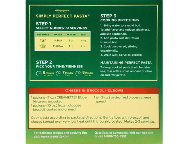 Creamette Elbow Macaroni, 7 Ounce -- 12 per case.