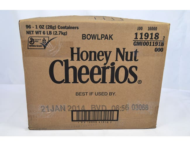 General Mills Honey Nut Cheerios Cereal, Bowl Pak, 1 Ounce -- 96 per case.