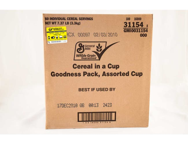 General Mills Assorted Cereal in a Cup - Goodness Pack, 2.18 Ounce -- 60 per case.