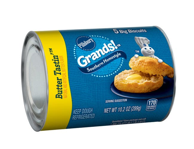 Pillsbury Grands Unbaked Homestyle Butter Tastin Biscuits, 10.2 Ounce -- 12 per case.