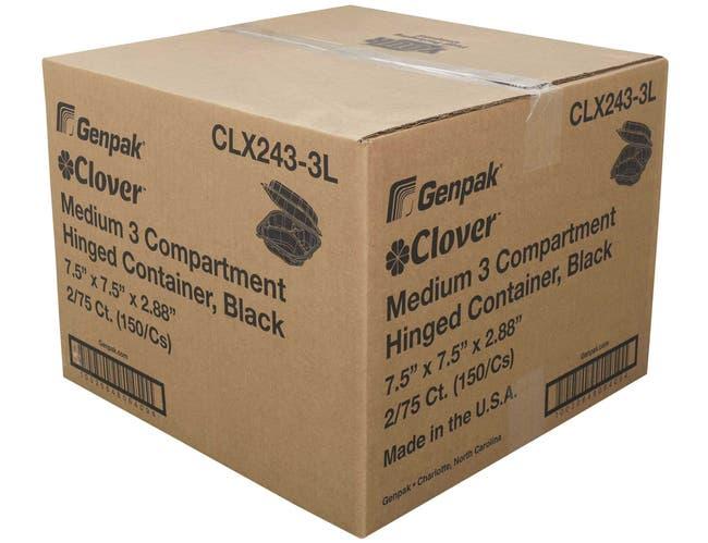 Genpak Black Medium 3 Compartment Hinged Container -- 150 per case