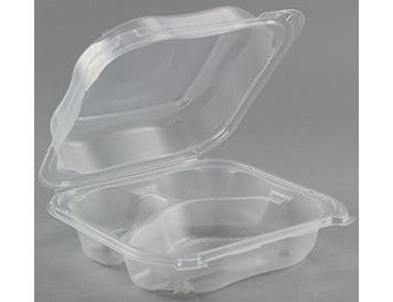 Genpak Clear Large 3 Compartment Hinged Container -- 150 per case