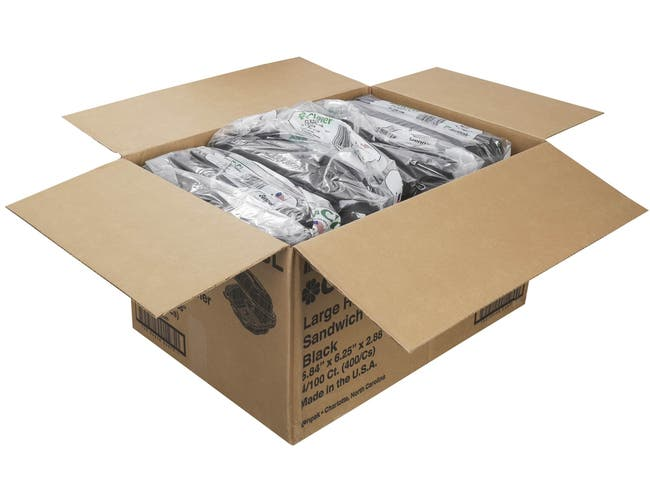 Genpak Black Large Hinged Sandwich Container -- 400 per case