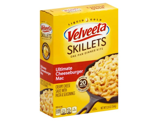 Velveeta Shells and Cheese Skillet Cheeseburger Macaroni Dinner Kit, 12.86 Ounce -- 6 per case.