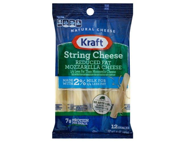 Kraft Reduced Fat Mozzarella String Cheese, 10 Ounce -- 12 per case