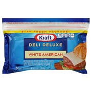 Kraft Deli Deluxe Individually Wrapped American White Cheese Slices, 1 Pound -- 12 per case.