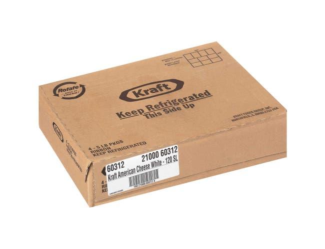 Kraft Regular American Sliced White Cheese, 5 Pound -- 4 per case.