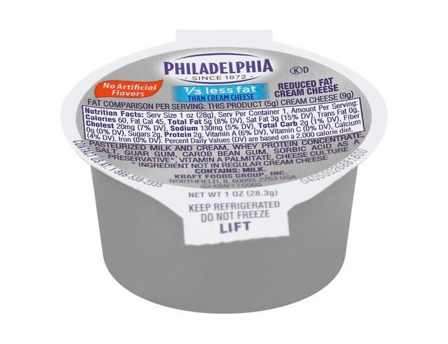 Kraft Philadelphia Light Cream Cheese - Cup, 1 Ounce -- 100 per case.
