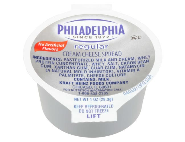 Philadelphia Original Cream Cheese Spread Cups,  1 ounce  -- 100 per case.