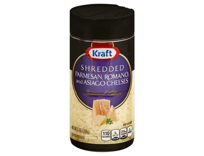 Kraft Shredded Grated Fresh Three Cheese, 7 Ounce -- 12 per case.