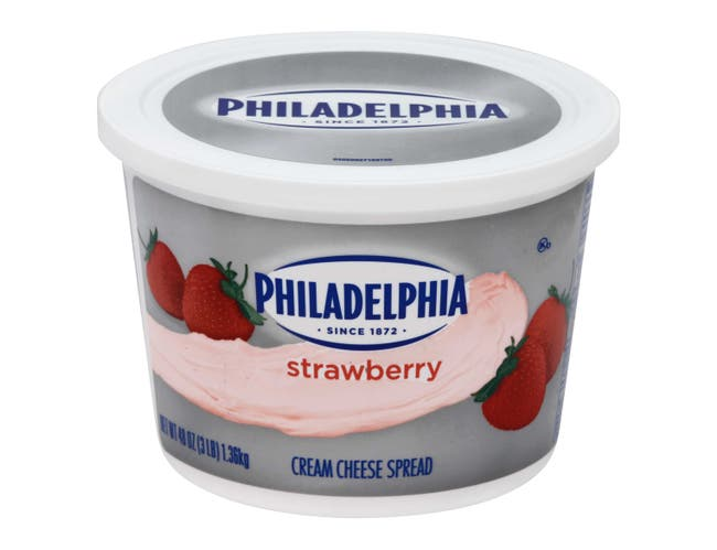 Kraft Philadelphia Strawberry Cream Cheese - Tub, 3 Pound -- 6 per case.