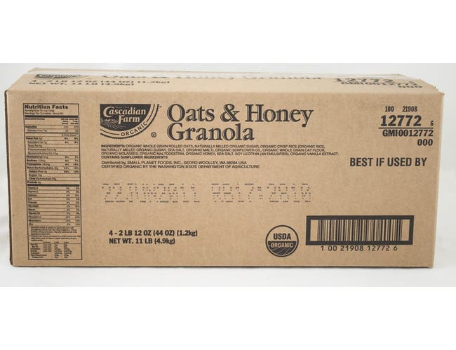 General Mills Cascadian Honey Nut Organic Whole Grain Oat Cereal, 44 Ounce -- 4 per case.