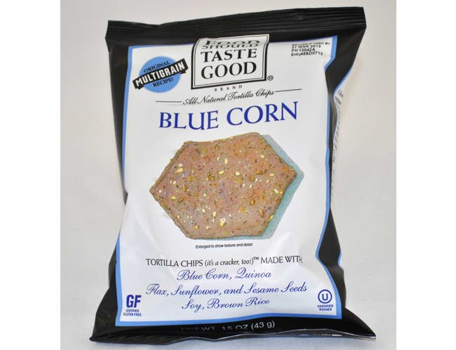 Food Should Taste Good Blue Corn Tortilla Chips, 1.5 Ounce -- 24 per case.