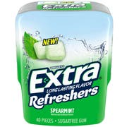 Extra Refreshers Spearmint Chewing Gum - Bottle, 40 count per pack -- 24 per case
