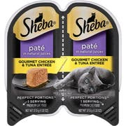 Sheba Premium Pate Gourmet Chicken and Tuna Entree Wet Cat Food, 2.6 Ounce -- 24 per case