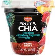 Delmonte Fruit and Chia Peaches in Strawberry Dragon Fruit Flavored Chia, 7 Ounce Cups -- 12 per case.