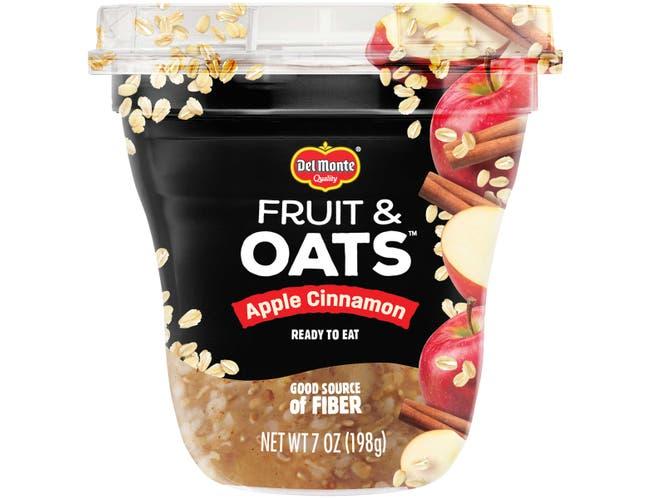 Delmonte Fruit and Oat Apple Cinnamon Fruit Cup, 7 Ounce Plastic Cup -- 12 per case.