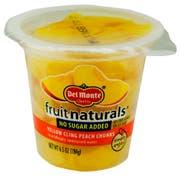 Fruit Naturals No Sugar Added Peach Chunk, 6.5 Ounce -- 12 per case.