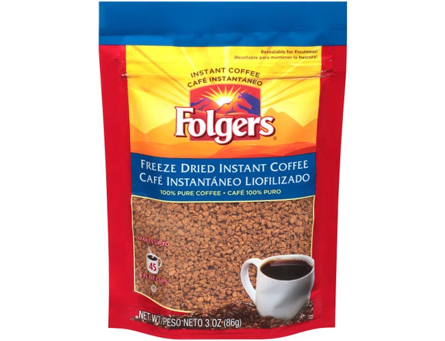 Folgers Freeze Dried Instant Coffee, 3 Ounce -- 24 per case.