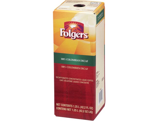 Folgers 100 Percent Colombian Decaffeinated Coffee Liquid, 1.25 Liter -- 2 per case.