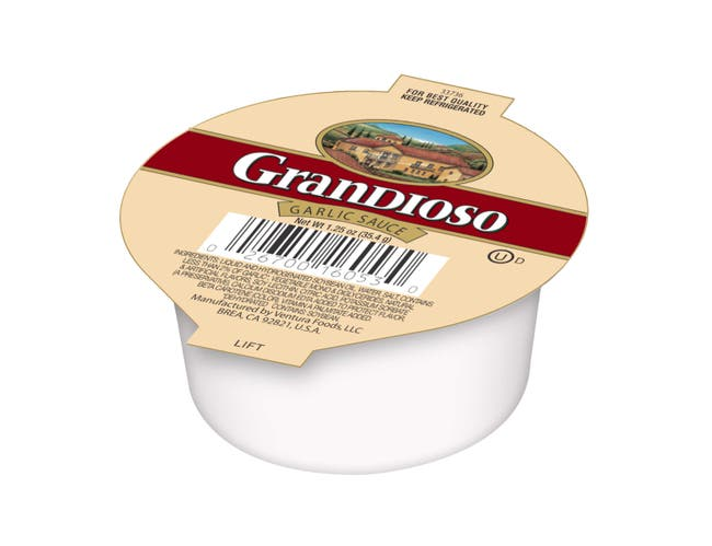 Grandioso Liquid Garlic Sauce, 0.07 Pound Cup -- 128 per case.