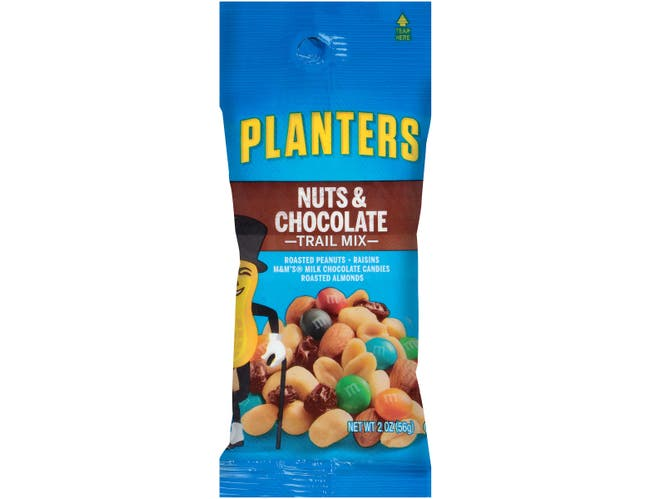 Planters Trail Mix Snack Nuts Nut And Chocolate, 2 Ounce -- 72 per case.