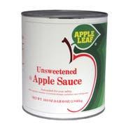 Apple Leaf Unsweetened Apple Sauce, 104 Ounce -- 6 per case.