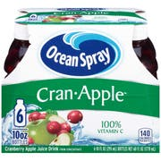Ocean Spray 10 Ounce Cranberry Apple Juice Drink, 6 count per pack -- 4 per case.