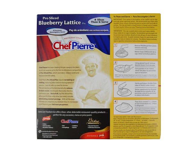 Chef Pierre Pre-Sliced Blueberry Lattice Pie, 34 Ounce -- 6 per case.
