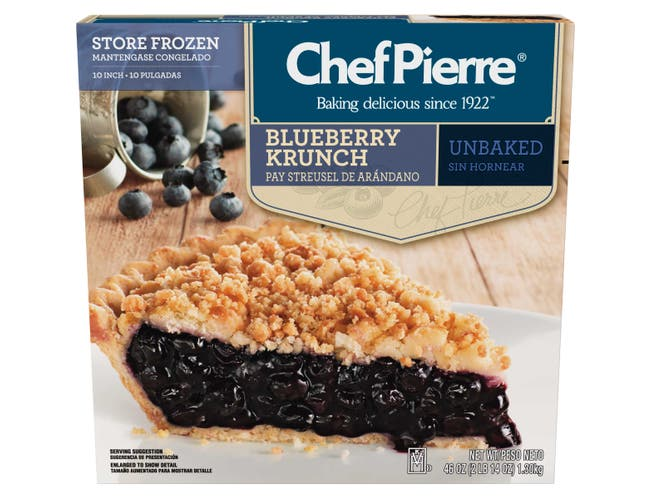 Sara Lee Chef Pierre Traditional Unbaked Blueberry Krunch Fruit Pie, 10 inch -- 6 per case.