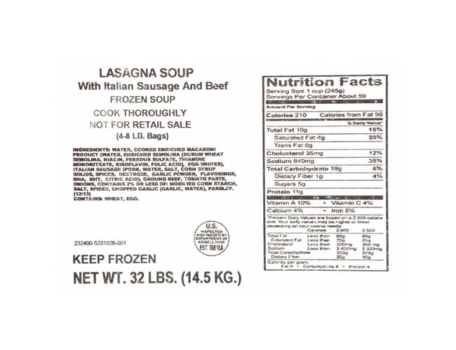 Chef Francisco Lasagna Soup, 8 Pound -- 4 per case.