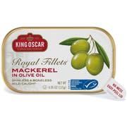 King Oscar Skinless Boneless Mackerel Royal Fillets in Olive Oil, 4.05 Ounce -- 12 per case.