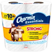 Charmin Strong Essentials Toilet Paper, 4 rolls per pack -- 10 per case.