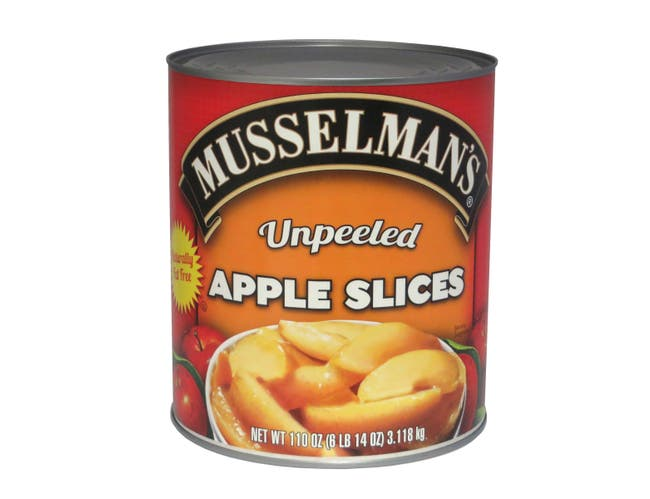 Knouse Foods Musselmans Unpeeled Sliced Apple, 110 Ounce -- 6 per case.