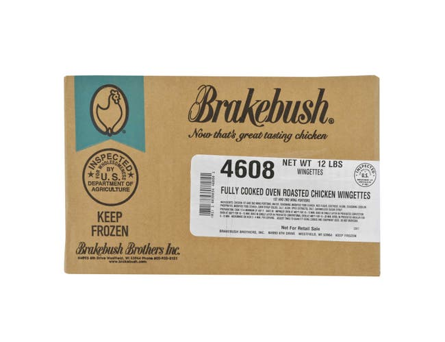 BreakBush Fully Cooked Ovenable Unbreaded Chicken Wingettes, 6 Pound -- 2 per case.