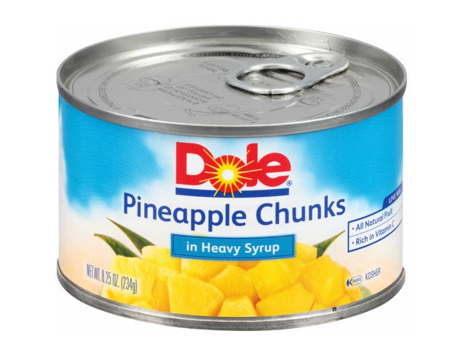 Dole Pineapple Chunks In Syrup, 8.249 Ounce -- 12 per case.