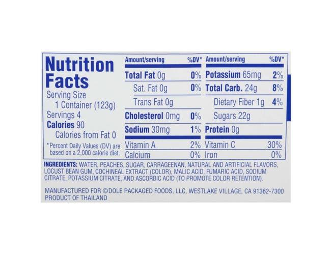 Dole Peach in Strawberry Gel, 4.3 Ounce - 4 per pack -- 6 packs per case.