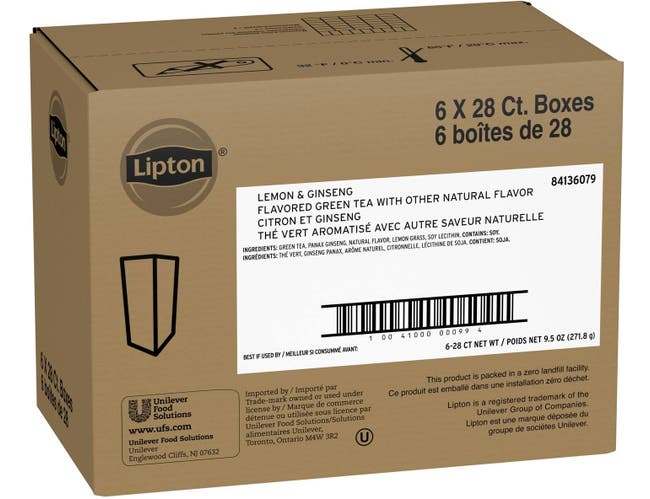 Lipton Green with Lemon and Ginseng Enveloped Hot Tea Bags, 28 count -- 6 per case