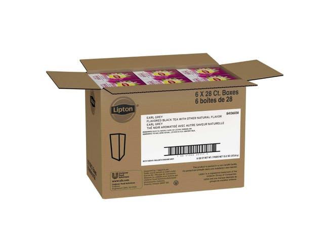 Lipton Earl Grey Enveloped Hot Tea Bags, 28 count -- 6 per case