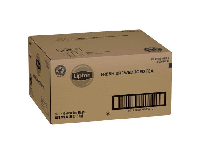 Lipton Black Iced Tea Bags Unsweetened, 4 gallon -- 32 per case
